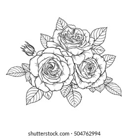 beautiful monochrome black and white bouquet rose isolated on background. Hand-drawn. design greeting card and invitation of the wedding, birthday, Valentine's Day, mother's day and other holiday