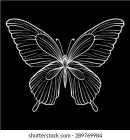beautiful  monochrome black and white butterfly. Hand-drawn contour lines and strokes. for greeting card and invitations of wedding, birthday, Valentine's Day, mother's day and other seasonal holiday
