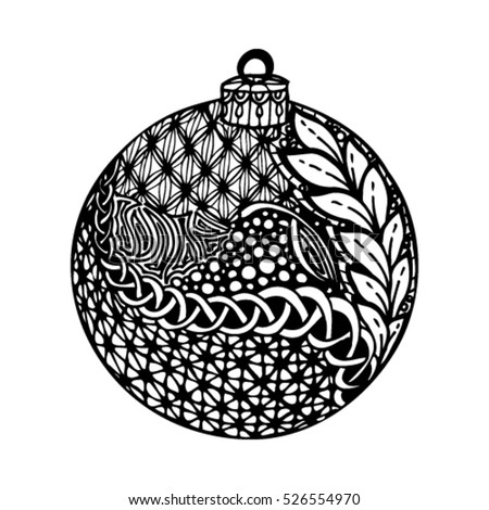 Beautiful Monochrome Black White Christmas Ball Stock Vector