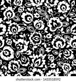 Beautiful monochrome, black and white Polish folk seamless vector pattern