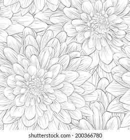 Beautiful monochrome, black and white seamless background with flowers dahlia.  Hand-drawn contour lines and strokes.