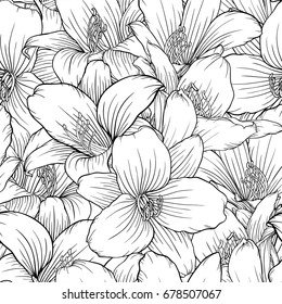 Beautiful monochrome, black and white seamless pattern with lilies. Hand-drawn contour lines. design greeting card and invitation of the wedding, birthday, Valentine's Day, mother's day, other holiday