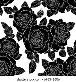 Beautiful Monochrome Black And White Seamless Pattern With Roses Leaves Hand Drawn Contour Lines