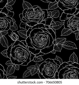 Beautiful monochrome black and white seamless pattern with roses, leaves. Hand drawn contour lines. design greeting card and invitation of the wedding, birthday, Valentine s Day, mother s day, holiday