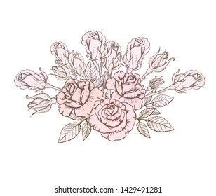 Beautiful monochrome bouquet of hand-drawn roses. Vector illustration in vintage style. Hand-drawn. design greeting card and invitation of the wedding, birthday, Valentine's Day, mother's day