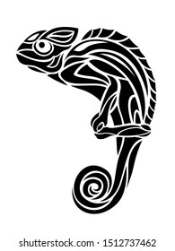 Beautiful monochrome tribal tattoo illustration with chameleon silhouette on white background