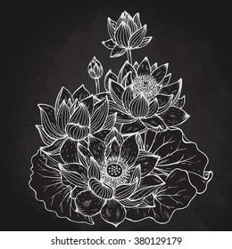 Beautiful monochrome vector floral bouquet of lotus flowers and leaves in graphic style.