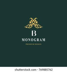 Beautiful monogram. Elegant emblem. Art logo design. Letter B. Graceful template. Business sign, identity for Restaurant, Royalty, Boutique, Cafe, Hotel, Heraldic, Jewelry, Fashion Vector illustration