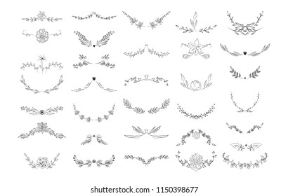 Beautiful monogram set with floral elements. Collection of wreaths, and frames with flowers and leaves for invitation cards decoration. Isolated vector illustration