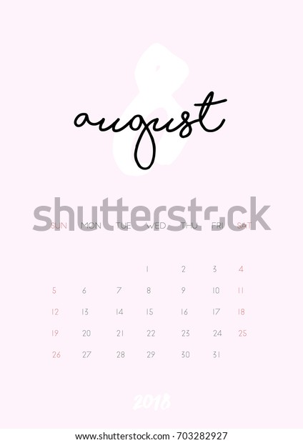 Beautiful Monthly Calendar August 2018 Year Stock Vector