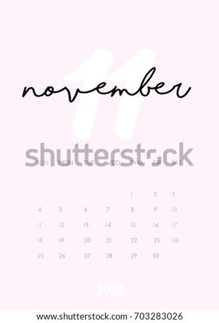 Beautiful Monthly Calendar November 2018 Year Stock Vector Royalty