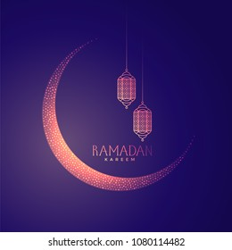 beautiful moon and lanterns design for ramadan kareem
