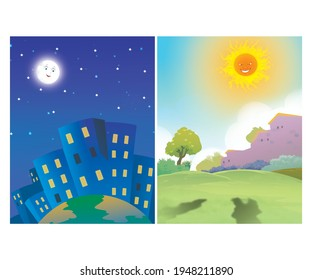 beautiful moon and sun illustration with victor 8