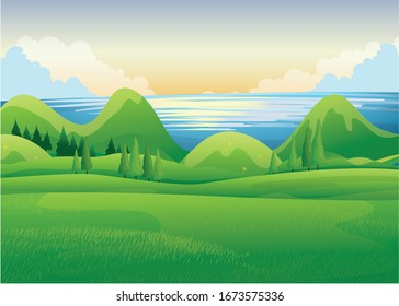 Beautiful Morning View of Landscape Vector Illustration Design 2020