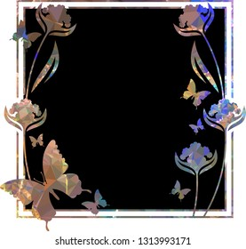 Beautiful mosaic background with butterflies. Decorative frame for text or photo.