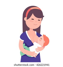 Beautiful mother breastfeeding her baby child holding him in her caring hands. Modern flat style vector illustration cartoon clipart.
