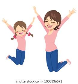 Beautiful mother and daughter jumping happy together with same outfit