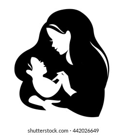 Beautiful mother silhouette with baby. Liner vector logo illustration on white background. Mother day card