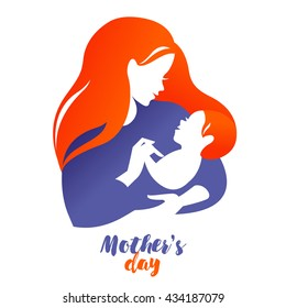 Beautiful mother silhouette with baby. Vector logo illustration on white background