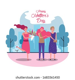 beautiful mothers with flowers and gift characters mothers day card vector illustration design