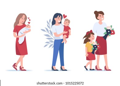 Beautiful mothers with kids. Flat style illustration isolated on white background.
