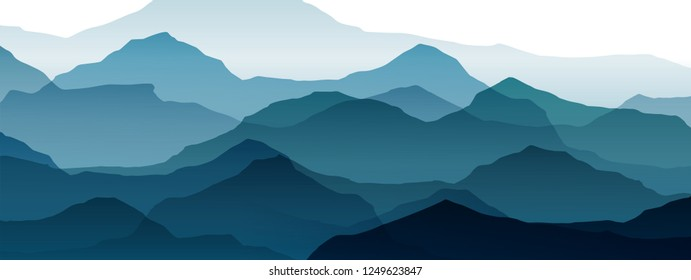 beautiful mountain landscape, abstract vector background for design, of blue color