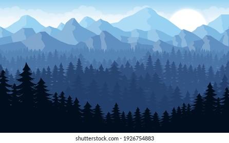 Beautiful mountain landscape background, vector design illustration