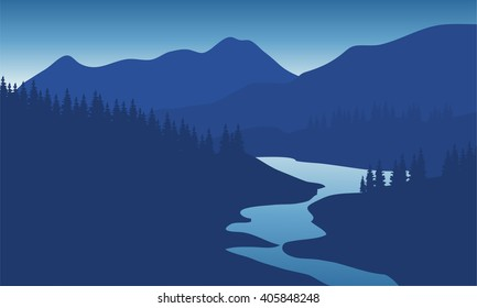 Beautiful mountain landscape with the river at night