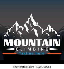 Beautiful Mountain logo design illustration Vector, Simple icon, Adventure logo, Abstract Mountain Logo