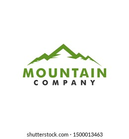 Beautiful Mountain logo, hill landscape design vector outdoor park green color. Simple minimalist style. Expedition, adventure, hiking, climbing logo template