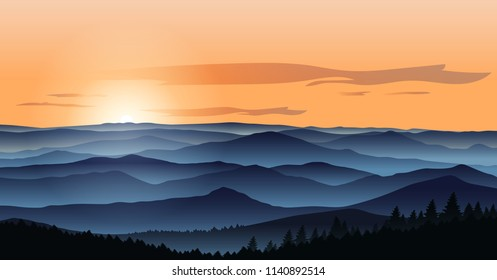 Beautiful mountains landscape in the foggy morning. Vector illustration. Layered trees and hills. Outdoor background.
