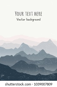 Beautiful mountains landscape. Vertical nature background with space for text. Vector illustration for cards, covers, banners, prints, posters, murals and wallpaper design.