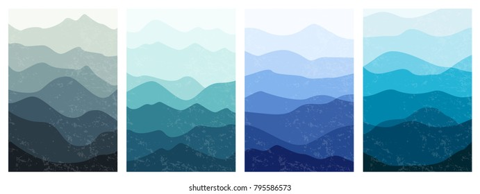 Beautiful mountains landscapes in different time of day. Set of layered vertical backgrounds. Stylish outdoor card templates. Textured vector illustration for posters, banners, leaflets and covers.