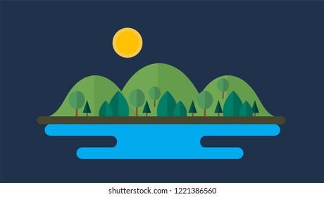 Beautiful mountains, mountain peaks, natural landscape illustrations