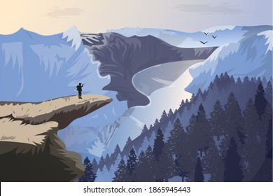 Beautiful mountains with river, tourist and birds. A large beautiful cliff on which a tourist stands and waves to birds. Gorgeous quality landscape in winter style. Vector eps illustration.