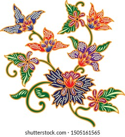 Beautiful Multi Colour Flower vector, batik art.