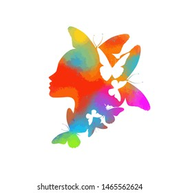 Beautiful multicolored girl's profile silhouette with butterflies flying from her hair isolated on white background - vector illustration