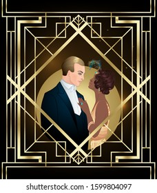 Beautiful multiracial couple in art deco style. Retro fashion: glamour man and woman of twenties. Vector illustration. Flapper 20's style. Vintage party  or wedding invitation design template.