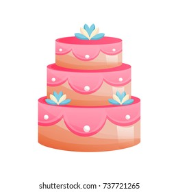 Beautiful multi-tiered, festive, wedding cake. Sweet baked desserts. Delicious food. Vector illustration isolated.