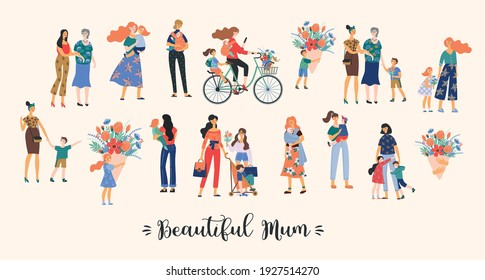 Beautiful Mum. Vector collection of cute illustration. Mothers with children. Clipart. Concept for Mothers day and other use.