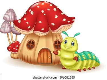 Beautiful mushroom house and cute caterpillar