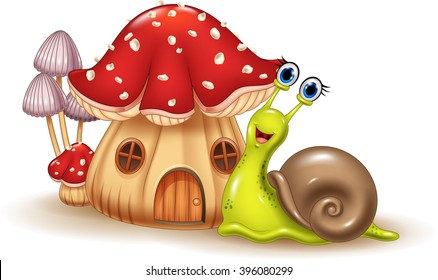 Beautiful mushroom house and happy snail cartoon