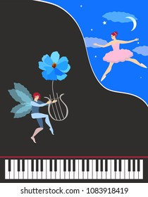 Beautiful music card or poster. Black concert grand piano, cute winged dancing fairy in pink tutu and elf with flower - lyre. Starry night, the moon and translucent clouds on dark blue sky. Vector.