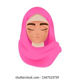 Beautiful Muslim Arab Woman in Colorful Hijab Avatar Icon Vector Illustration