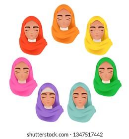 Beautiful Muslim Arab Women in Colorful Hijab Avatar Set Icon Vector Illustration