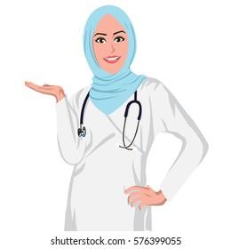 Beautiful Muslim Doctor Wearing Hijab. Flat Design Vector Illustration