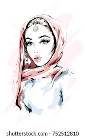 Beautiful Muslim Woman Wearing Hijab. Fashion woman portrait. Stylish lady. Sketch. Vector illustration.