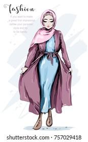 Beautiful Muslim Woman Wearing Hijab. Fashion arabian woman. Stylish lady. Sketch. Vector illustration.