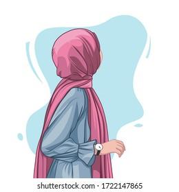 beautiful muslim women hijab vector illustration