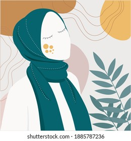 Beautiful Muslim women wearing hijab illustration. cute little girl with floral wreath character